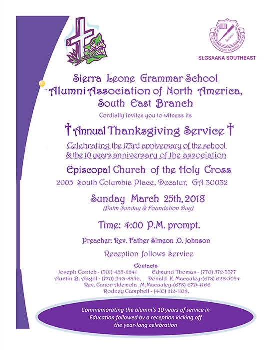 2018 Annual Thanksgiving Service